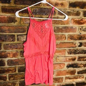 ♦️Women's EUC halter Lace tank top blouse Medium